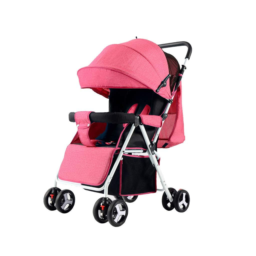 ベビーカー、軽量2-in-1コンバーチブルベビーカー、広い収納スペース、ホイールサスペンション、5点式ハーネス、耐衝撃トラベルシリーズ、ハイビューベビーカーとリバーシブルベビーカー、折りたたみ式ベビーカー、上調整、保管 (Color : Pink)  Pink B07T6KYVFM