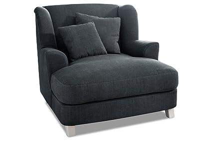 Sofá XXL-sillones asado - micro de terciopelo de colour gris ...