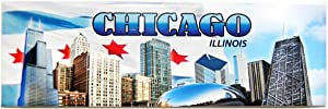 The City of Chicago Skyline Souvenir Waving Flag of Chicago Super-magnetic Refrigerator Magnet