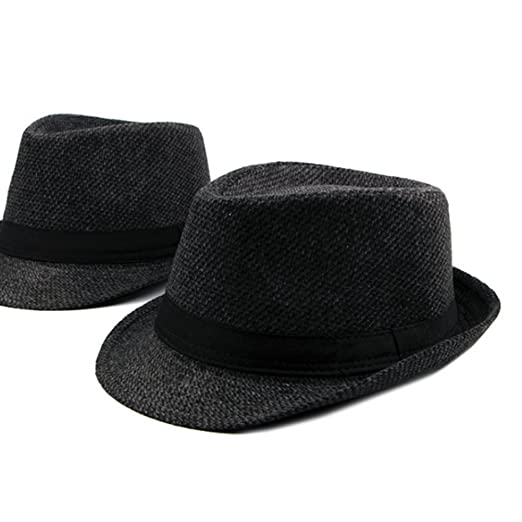 2c1cf69e9f5 Zhhlaixing Winter Mens Warm Tweed Gangster Trilby Fedora Hat Jazz Cap with  Black Band  Amazon.co.uk  Clothing