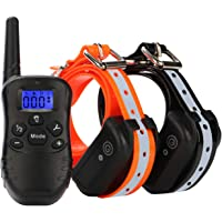 2-Pack Etpet Dog Training Shock Collar 1000 ft Range-Rechargeable and 100% Waterproof Electronic Reflective Collar for Dogs (10Lbs-100Lbs)