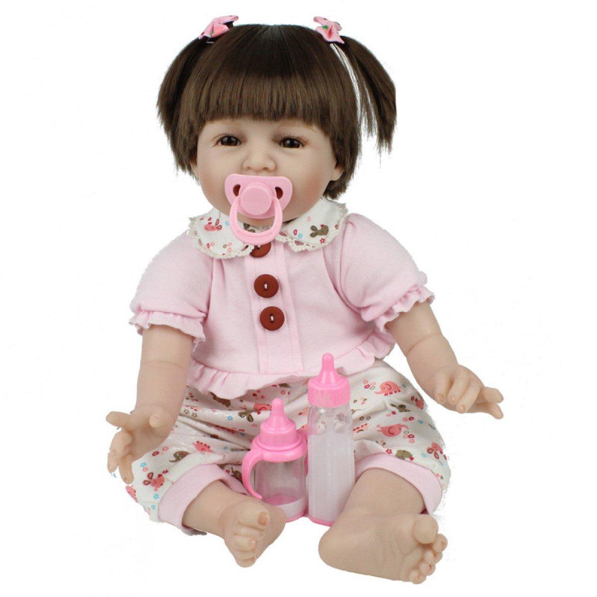 YihangフルSiliconeビニールRebornベビー人形RealisticガールBabies人形22インチ55 cm Lifelikeプリンセスキッズ用おもちゃ子供誕生日ギフト初期学習写真撮影プロップ   B07BPNGQ6R