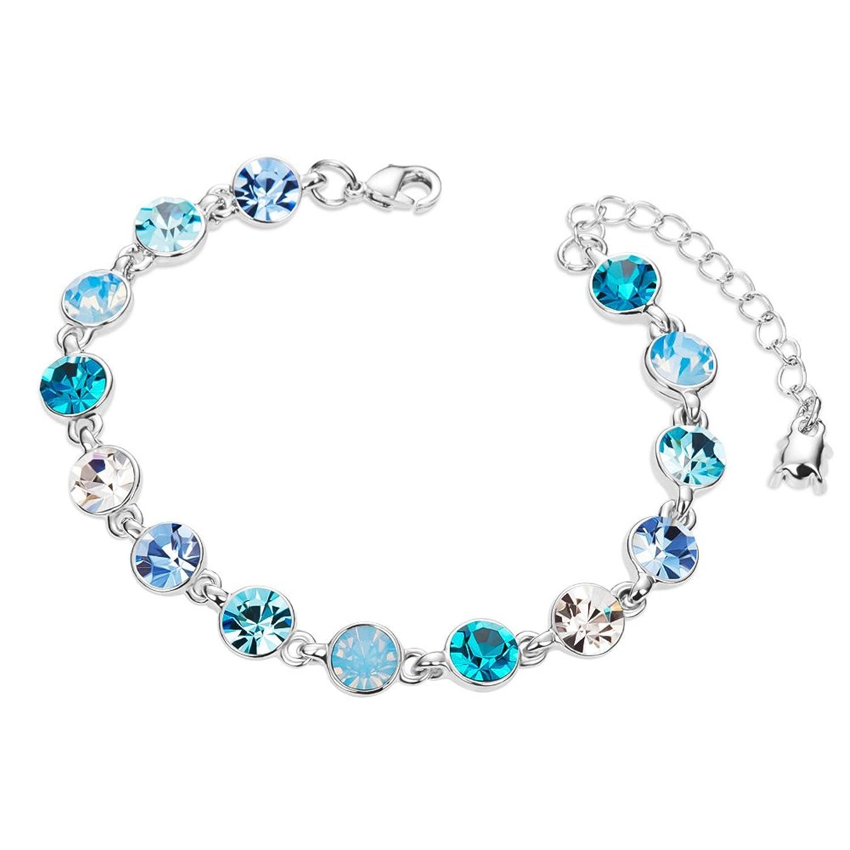 SWEETIEE pulsera chapada platino Swarovski cristales redondos de aguamarina platino mm