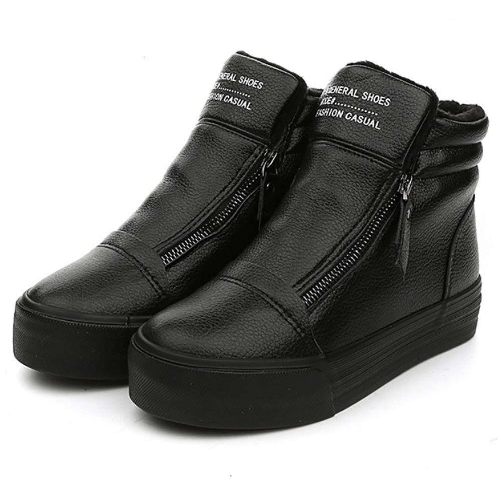 SHANGXIAN Damen Winterschuhe Warm Waterproof Gefütterte Stiefel Stiefelette Outdoor Waterproof Warm Schneestiefel schwarz b82139
