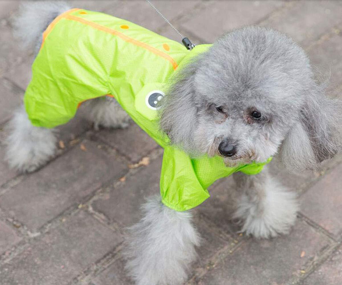 Puppy Raincoat, Pet Teddy Schnauzer, Four-Legged Waterproof Suit (color   Pink, Size   L)