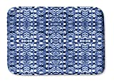 KAVKA DESIGNS Shibori Mirror Memory-Foam Bath Mat, (Blue) - SALTWATER Collection, Size: 24x36x0.75 - (BBAAVC6502SUML)