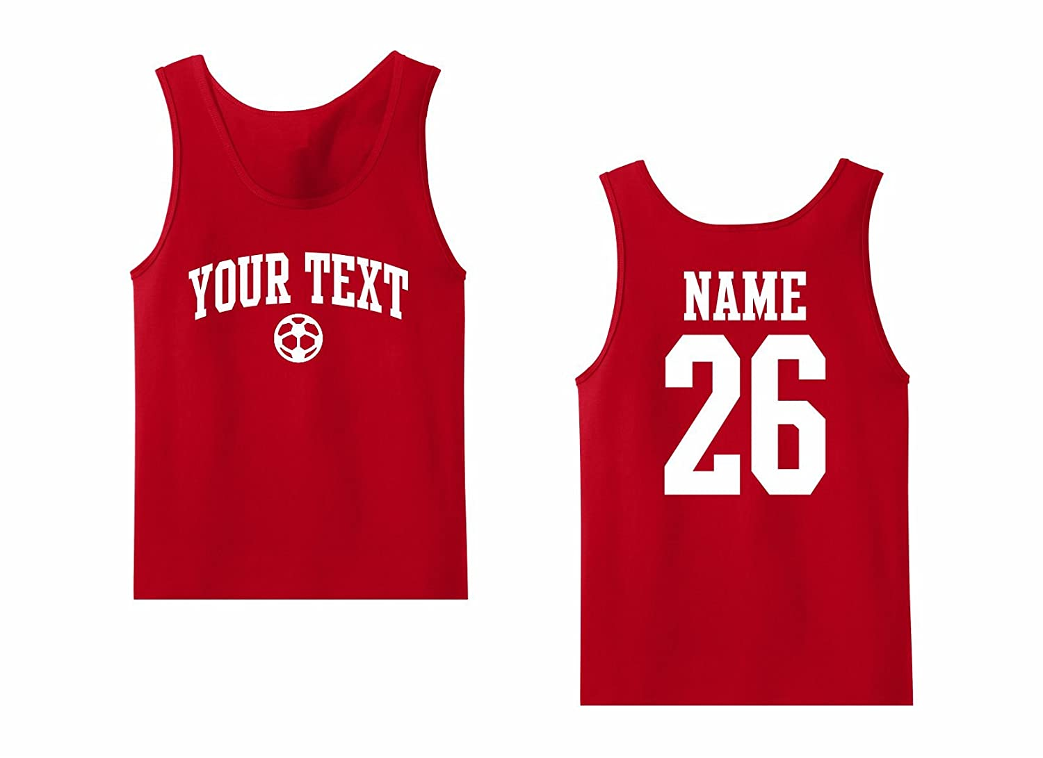 Back Name /& Number Soccer Arched Text Mens Tank Top Custom Personalized T-shirt