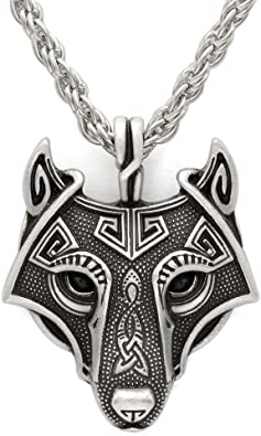 Valknut Vikings Amulette Collier Pendentif Vikings Tête Loup Collier original Animal
