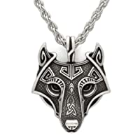 LoveInDec Norse Vikings Pendant Necklace Norse Wolf Head Necklace Original Animal Jewelry Wolf Head hange