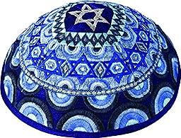 Kippah Yarmulkes & Yemenite Hat - Yair Emanuel Judaica EMBROIDERED KIPPAH MAGEN DAVID RAINBOW BLUE (Bundle)