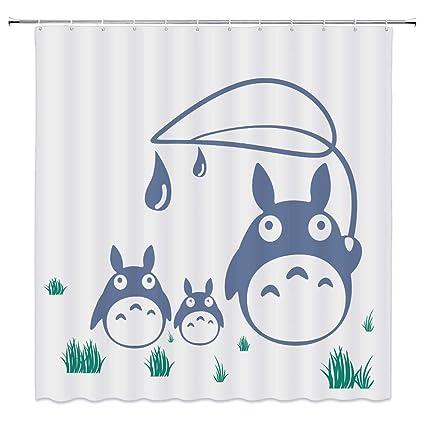 Cute Totoro Decor Shower Curtain Cartoon Illustration Green Grass69x70 Inch Waterproof Polyester Fabric Bathroom