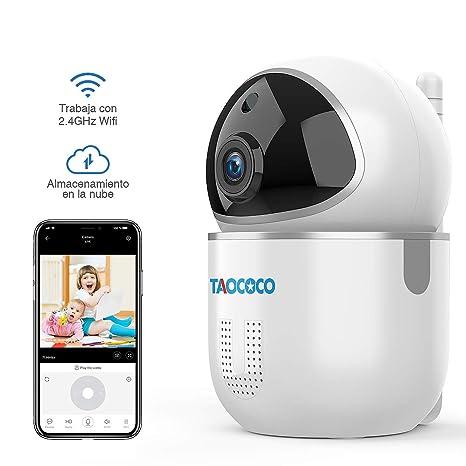 TAOCOCO 1080P Cámaras de Vigilancia, Cámara IP WiFi FHD Detección de Movimiento/Sonar, Audio Bidireccional, Visión Nocturna para Bebés/Personas ...