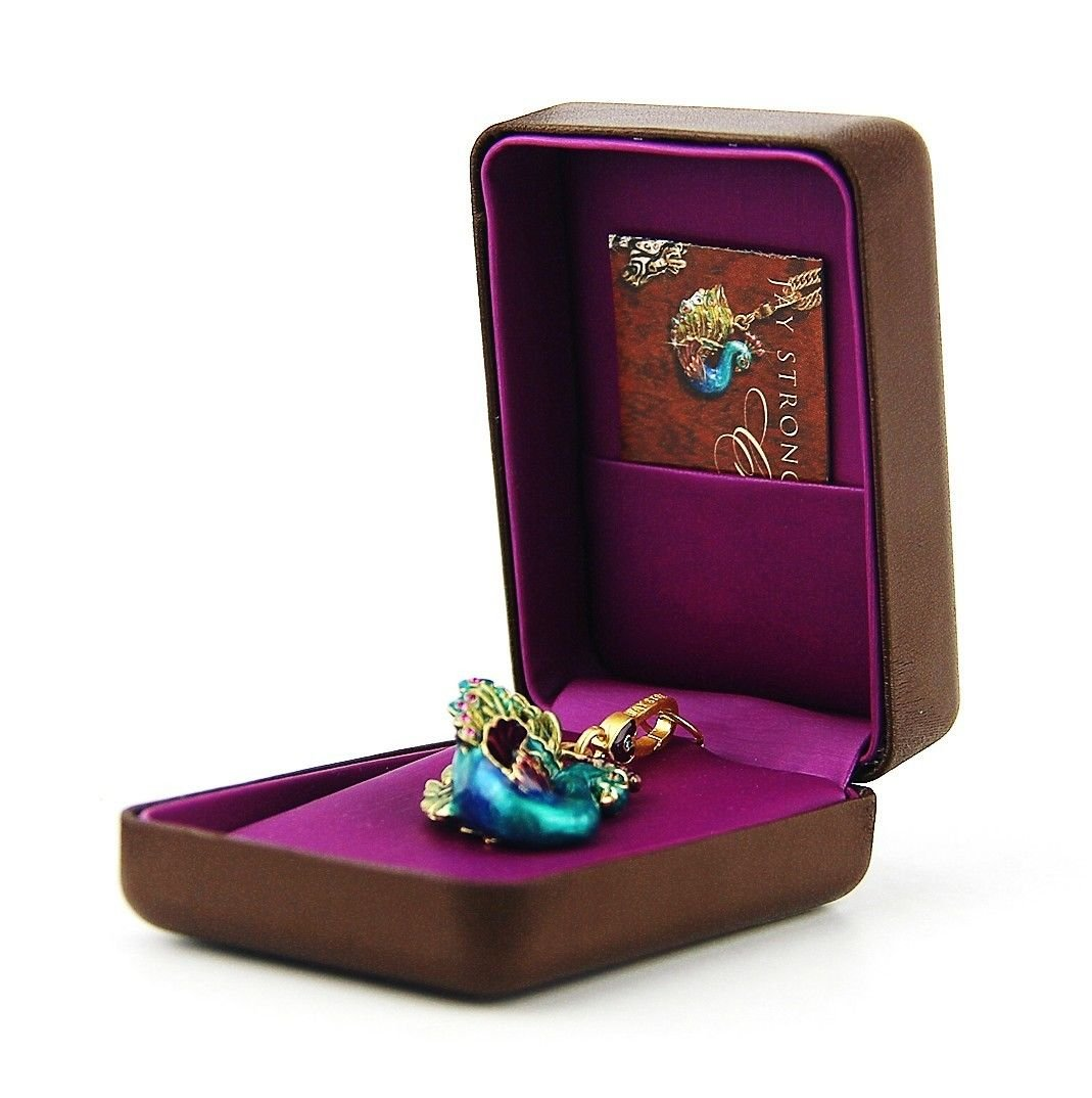 Jay Strongwater Lillian Peacock Charm 18k Gold Plated Swarovski Crystals Brand New Box by Unknown (Image #1)