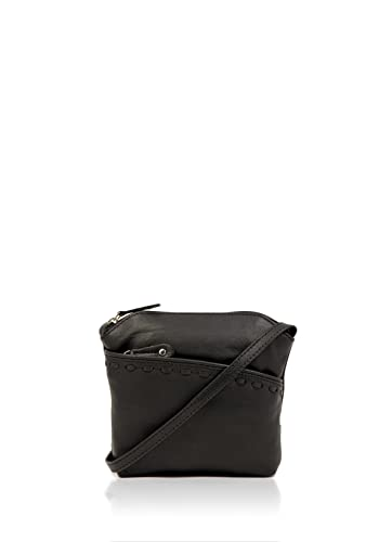 12c6c368469e Lakeland Leather Women s Tilly Roma Leather Small Across Body Bag with  Stitching Detail in Classic Black