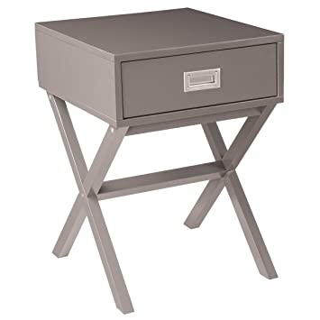 Charmant Charles Bentley Grey Retro Side Table/Bedside Table MDF One Drawer Bedroom  Furniture