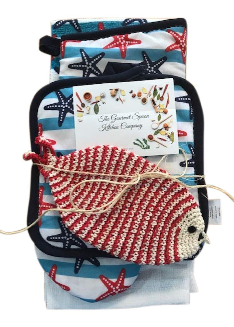 Nautical Beach Ocean Kitchen Dish Towel Oven Mitt Pot Holder Set with Fish Scrubbie