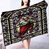 PRUNUS 100% Premium Quality Bath Towel of Jesus Pictures Catholic Gifts Believe Art Christian Church Cathedral Window View Silky Soft & Absorbent