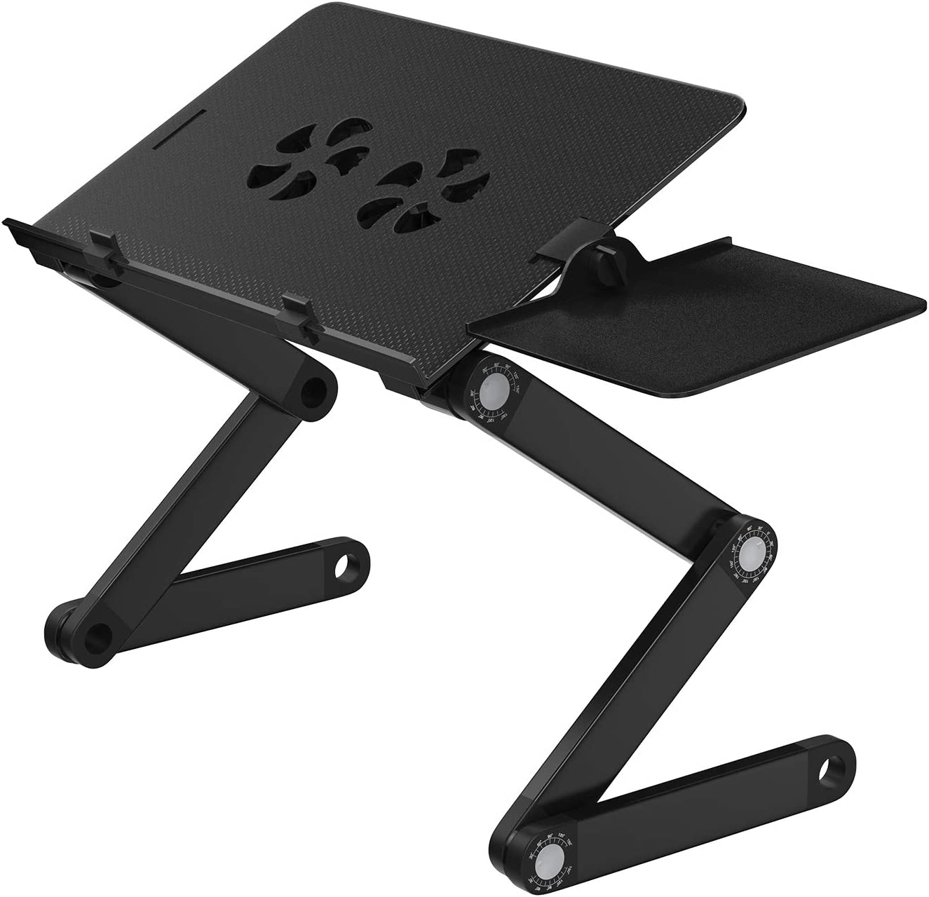 HUANUO Adjustable Laptop Stand, Portable Laptop Table Stand with 2 CPU Cooling Fans, Ergonomic Lap Desk TV Bed Tray Standing Desk