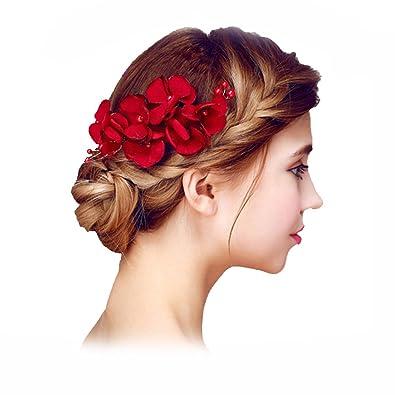 YAZILIND Delicada Boda Tocado Nupcial Cabello Pins Flores Rojo Perla  Accesorios de Pelo para Mujeres y niñas  Amazon.es  Joyería 9a147f168606