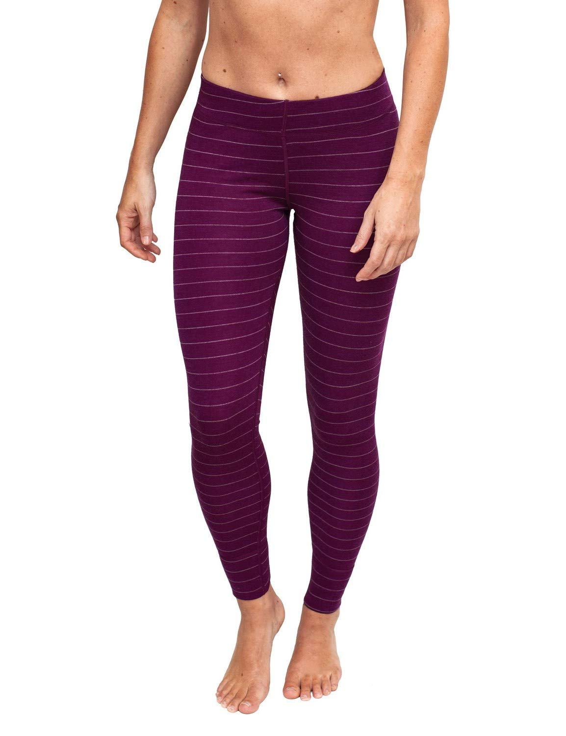 Woolx Women's Avery Midweight Merino Wool Base Layer Leggings For Warmth, Mulberry Stripe, X-Small