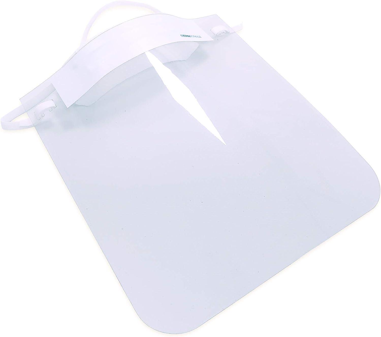 Pack de 10 Uds. | Pantalla de protección Facial Transparente | Visera protección máscara Facial | Medida 23 x 26 cm | Protección antisalpicaduras