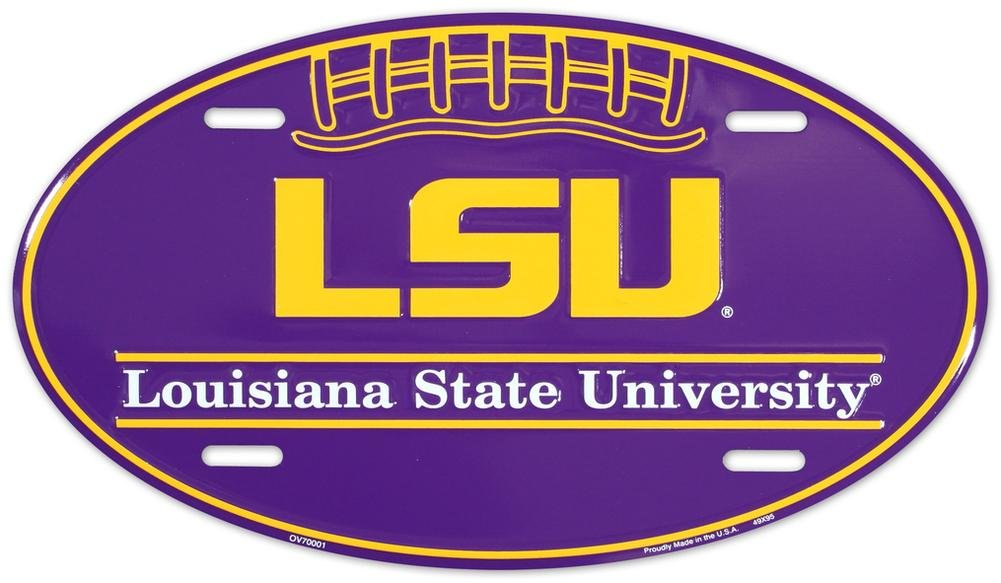 LSU Tigers Oval License Plate Tin Sign 6 x 12in Tag City Auto tag