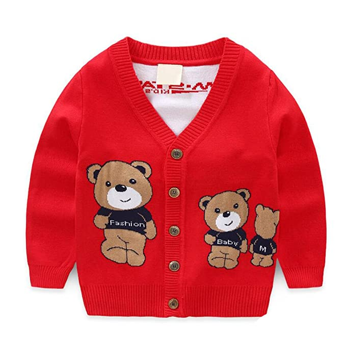b88779cbcac7 Amazon.com  Baby Boys Girls 1-6T Crew Neck Button-down Cotton Knits ...