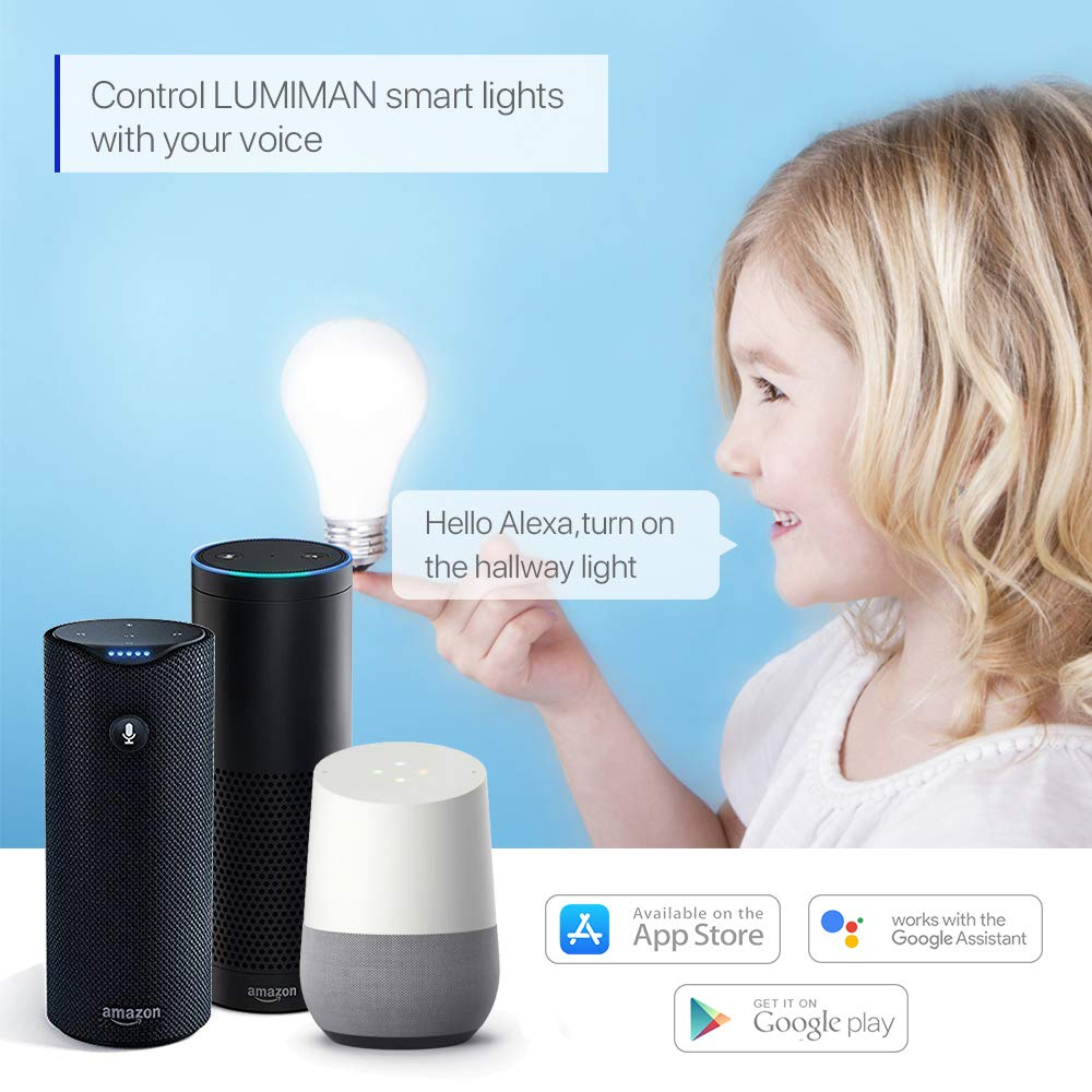 Alexa WiFi Smart Light Led Bulbs Bayonet by LUMIMAN B22 RGBW Dimmable...