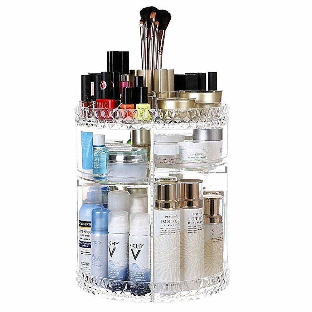 SLHP Organiseur multifonction cosmétique Make Up Boîte de rangement organiseur acrylique cosmétiques Rangement Cosmétique réglable rotatif à 360° Transparent 1