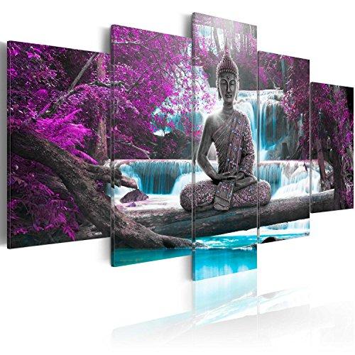 murando - Cuadro en Lienzo Buda 200x100 cm Impresion de 5 Piezas Material Tejido no Tejido Impresion Artistica Imagen Grafica Decoracion de Pared Oriente Zen Cascada c-A-0021-b-o