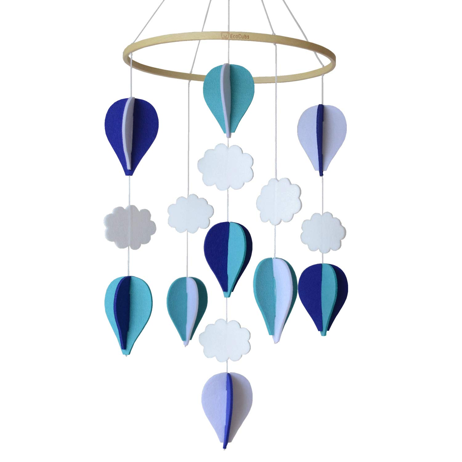 EcoCubs Baby Crib Mobile. Handmade. Navy Blue, Turquoise, Pale Grey and White. Hot Air Balloons and Clouds. Eco Felt and Organic Beech Wood. Nursery Decor. Boy Room Decoration. Unique and Simple by EcoCubs