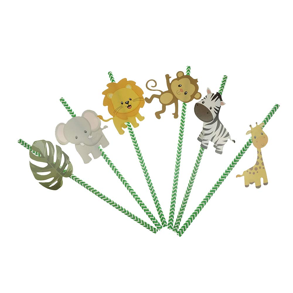 Bilipala Woodland Animal Theme Paper Party Straw Decoration - Baby Shower or Birthday Party Decorative Straws - Pack of 36