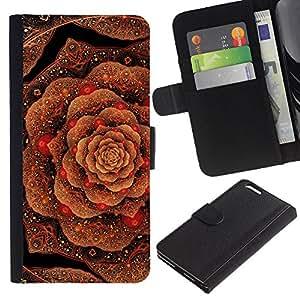 Planetar® Modelo colorido cuero carpeta tirón caso cubierta piel Holster Funda protección Apple (5.5 inches!!!) iPhone 6+ Plus / 6S+ Plus ( Cabbage Floral Pattern Copper Bling Gold )