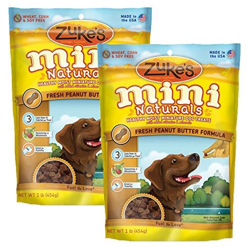 Zuke's Mini Naturals Savory Salmon Recipe Dog Treats (Peanut Butter, 16 oz. Pouch - 2 (Wheat Free Dog Biscuit Recipes)