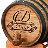 Personalized Whiskey Barrel - Engraved Wine Barrel - Custom Oak 2 Liter Barrel - Fancy Design
