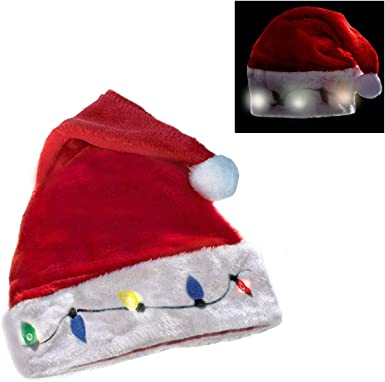 Christmas LED Glowing Red Hats Santa Clause Holiday Wearing Party Supplies N