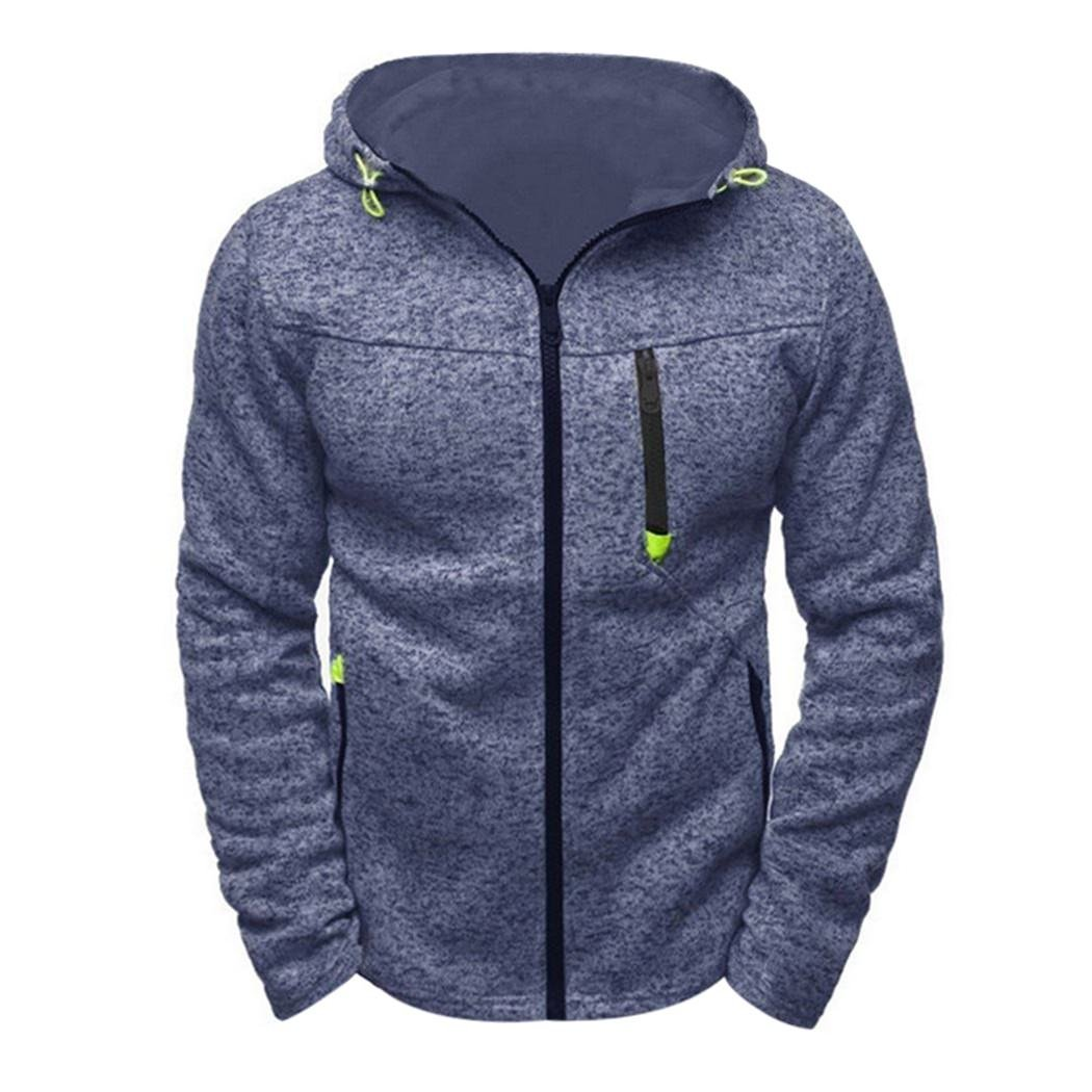 MIOIM Mens Basic Zip up Hoodie Warm Sports Casual Sweatshirt Outwear Coat