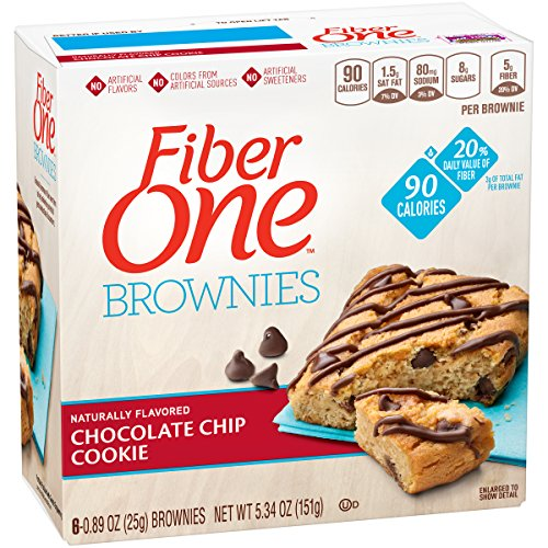 Chocolate Chip Brownie Cookie (Fiber One 90 Calorie Brownie, Chocolate Chip Cookie, 6 Count, 5.34 oz (Pack of 8))