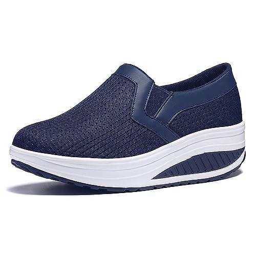 Hishoes Donna Traspirante Mesh Piattaforma Dimagranti Sportive Scarpe Fitness Shape ups Tacco Zeppa Scarpe da Passeggio