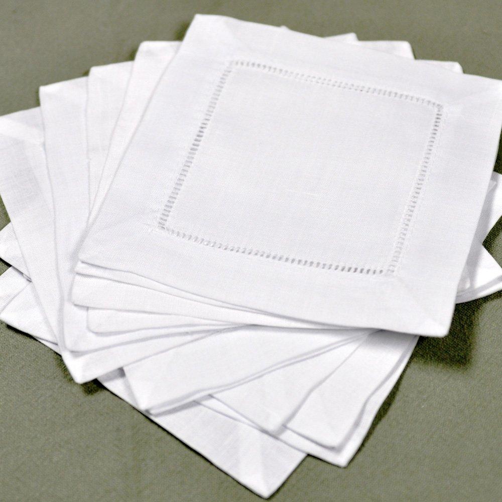 White Linen Hemstitched Cocktail Napkins- 1 Dozen 6'' X 6''- Ladder Hem Stitch Cloth Napkin Coasters