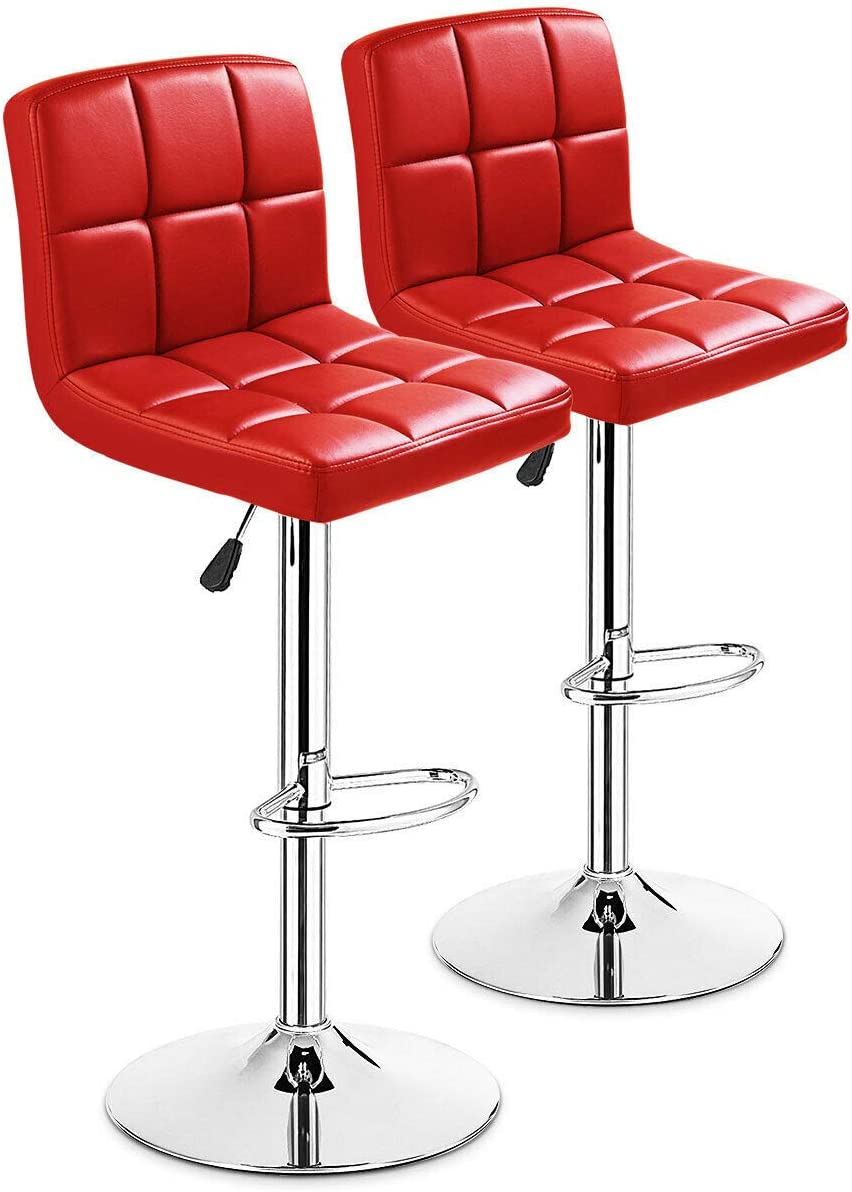 COSTWAY Bar Stool, Modern Swivel Adjustable Barstools, Square Armless Counter Height PU Leather Bar Stools for Kitchen Dining Living Bistro Pub Chair Counter Back Barstool Red, Set of 2