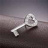 Men Women Rhinestone Crystal Platinum Plated Heart
