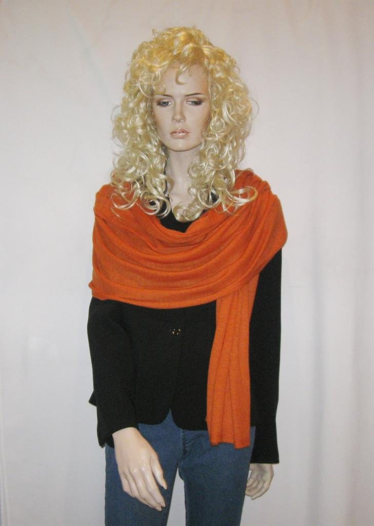 Cashmere Pashmina Group: Cashmere Scarf Shawl Stole Wrap (Sweater Knit Cashmere Shawl) Burnt Orange