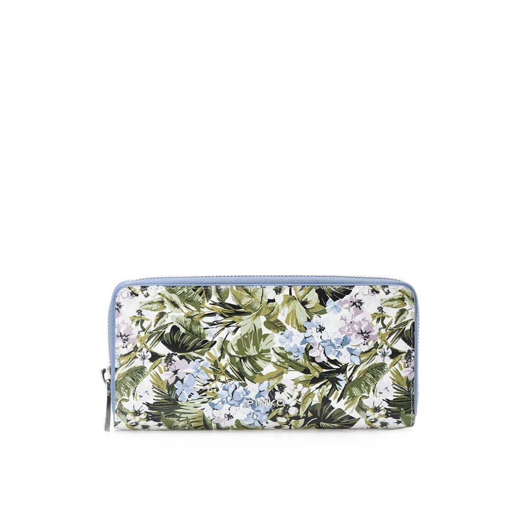 Women's Accessories Pinko Green Flowers Ronzio Large Wallet Spring Summer 2018
