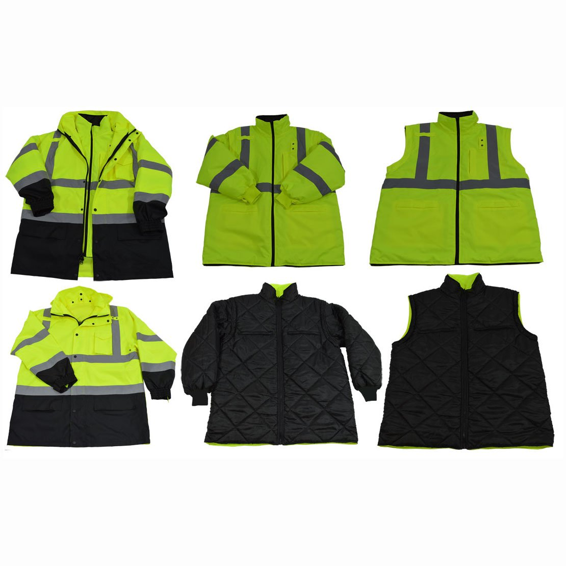 Petra Roc LBPJ6IN1-C3-L Two Tone Waterproof 6-In-1 Parka Jacket, Large, Lime/Black