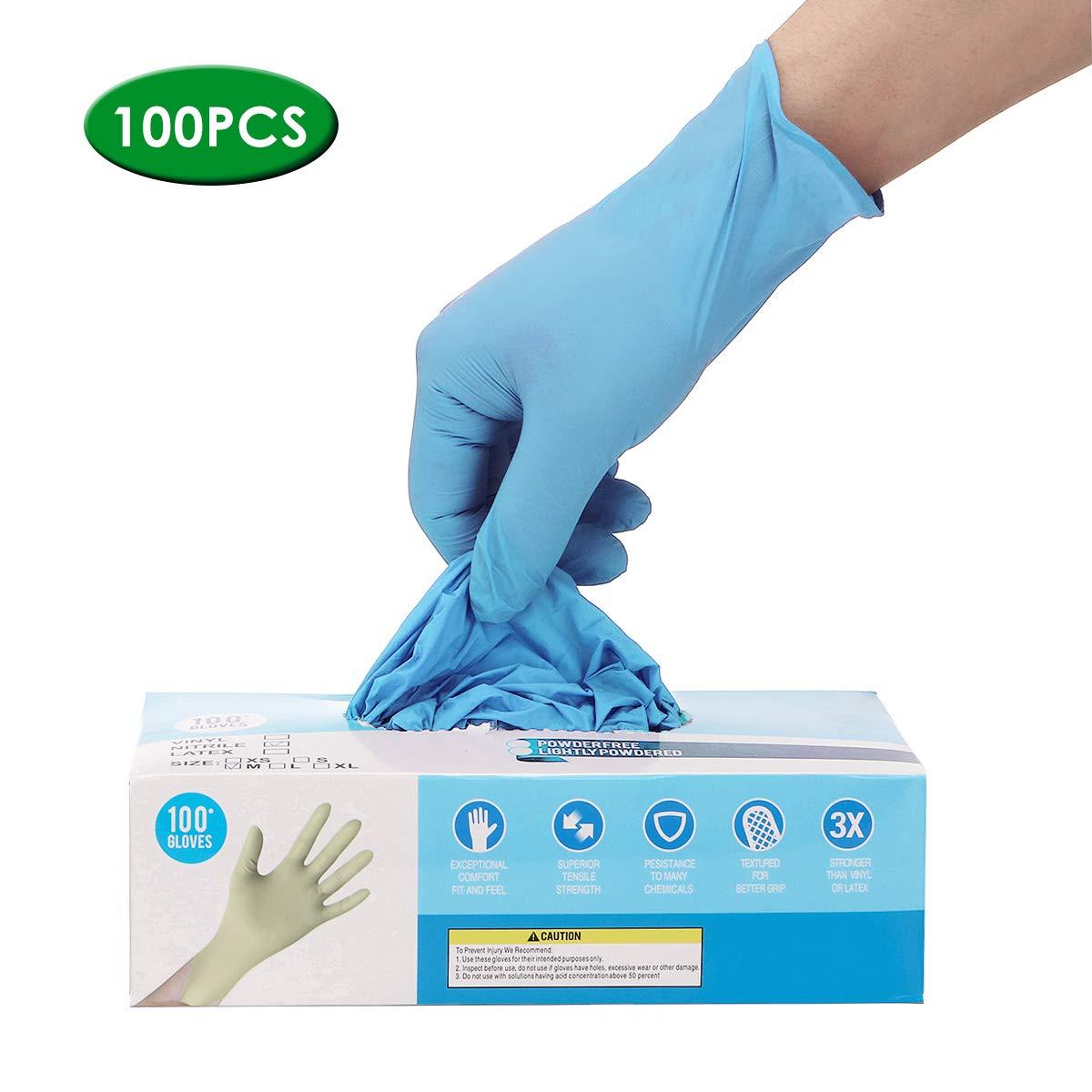 Guantes desechables Hizek 100 piezas guantes de nitrilo azul, guantes antideslizantes no estériles sin polvo de talco, peinado de belleza a prueba de agua, alimentos, sin polvo, jardinería, cocina, S