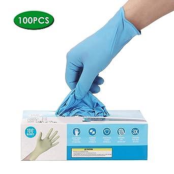 Schwarz 100 STK Handschuhe Einweghandschuhe Nitrilhandschuhe L Pulver freie