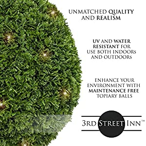 3rd Street Inn Boxwood Lighted Topiary Ball - Artificial Pre-Lit Christmas Topiary Plant - Indoor/Outdoor Decorative Light Plant Ball - Wedding and Holiday Decor 2