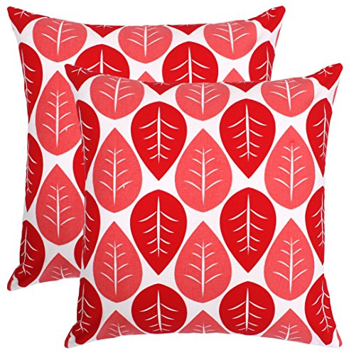 Isabella Beddings Decorative Throw Pillow Covers Sturdy Cotton Tropical Leaves Cushion Cover for Sofa, Chair or Bed 18 x 18 Inches Set of 2 Accent Home Decor (Red) ()