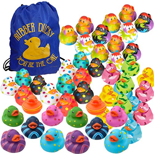 Assorted Rubber Ducks in Bulk - Colorful Variety Pack Assortment (48 Ducks + 1 Drawstring Bag) - Fun Colored Rubber Duckies - Kids Party Favors Set - Event Handouts - Student Prizes - Bath Toys